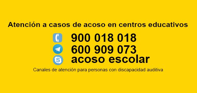 Teléfonos contra el acoso escolar