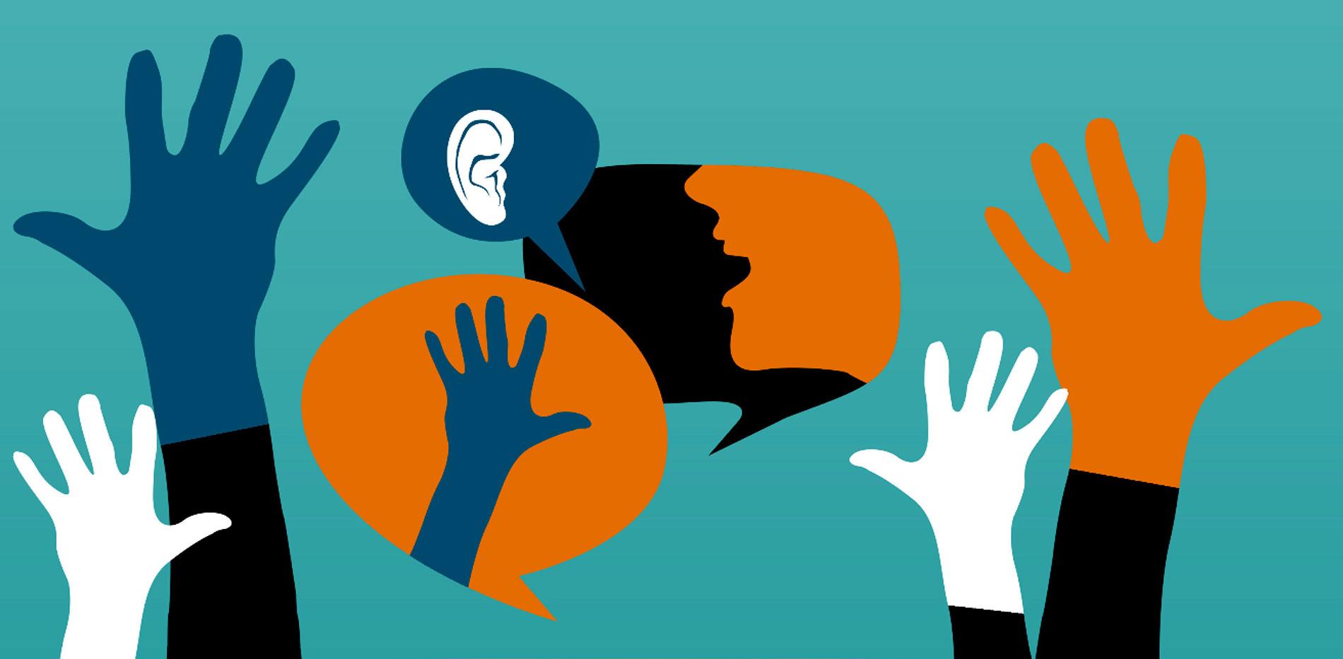 manos elevadas sobre un dibujo de una cabeza y un oído en un bocadillo