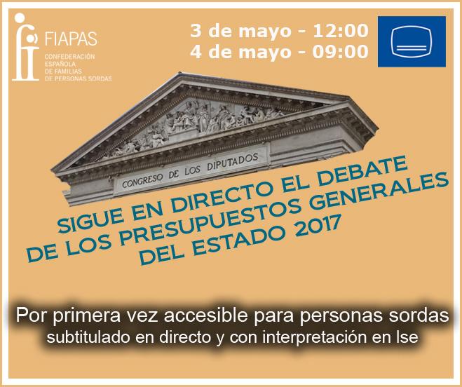 FIAPAS subtitulará el debate de los Presupuestos Generales 2017