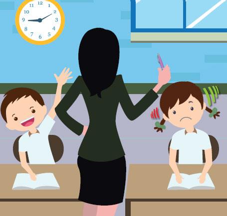 maestra, niño oyente y niña sorda