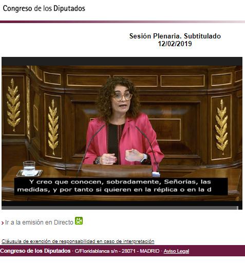 Debate de los presupuestos con subtitulado
