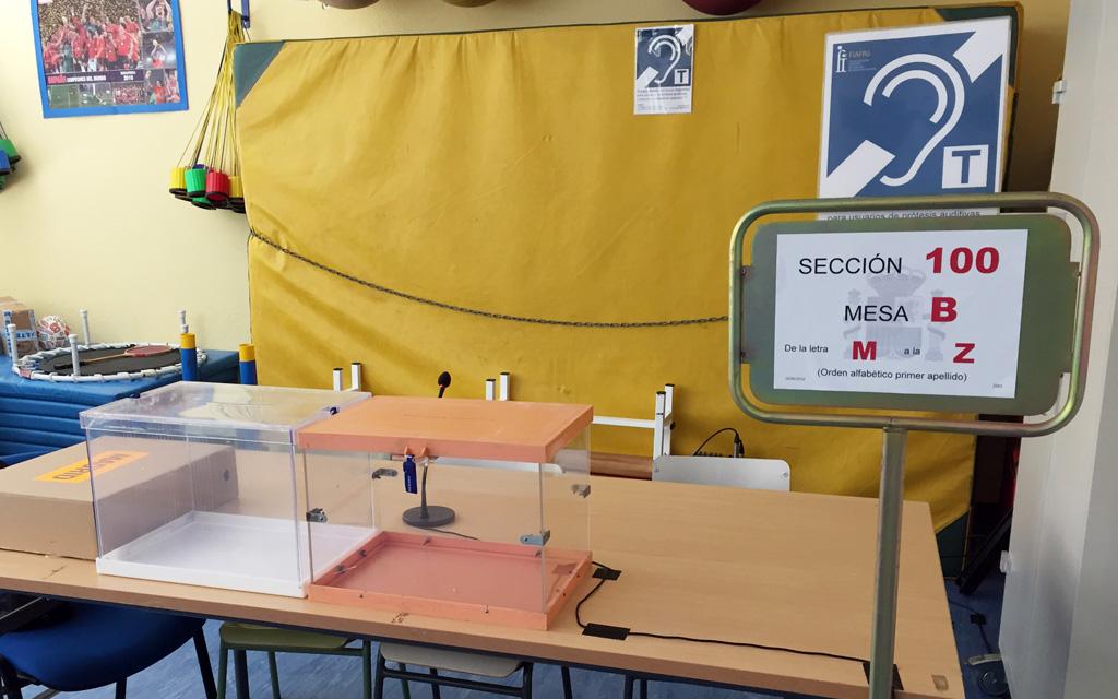 Mesa electoral con bucle magnético