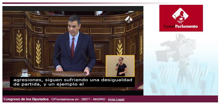 Web del Congreso con el debate en directo y subtítulos
