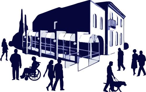 gente con discapacidad paseando alrededor de un edificio