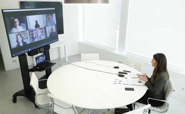 Desarrollo de la videoconferencia de la Reina con los representantes de FIAPAS