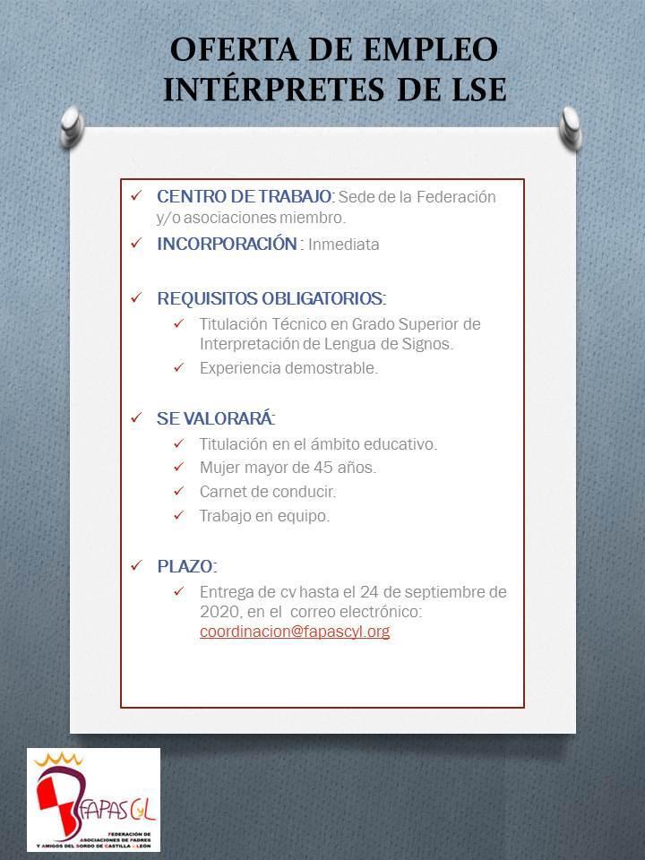cartel de la oferta de empleo