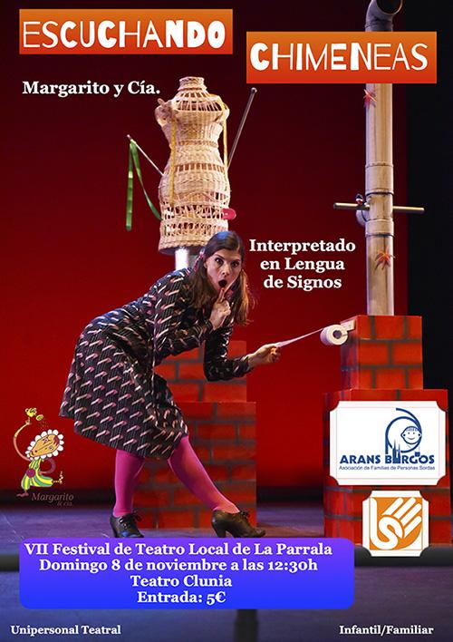Cartel de la obra de Margarito y Cía Escuchando Chimeneas