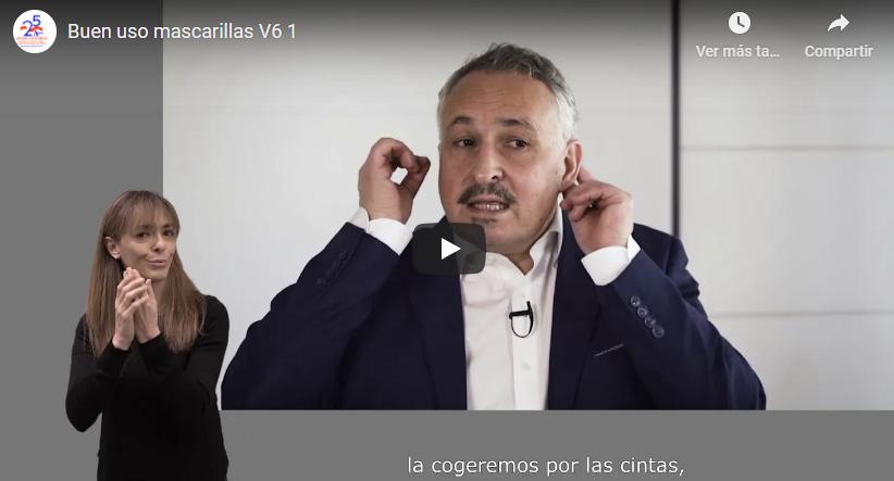 captura de video sobre el uso de la mascarilla que cuenta con intérprete de lengua de signos y subtítulos