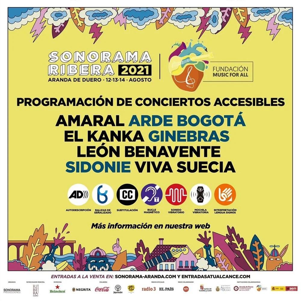 Cartel con los conciertos accesibles